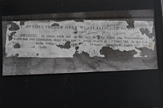 Fragment from 1934 Lepke catalogue glued to back of panel